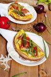 Ομελέτα αυγών με το ψωμί στοκ εικόνες