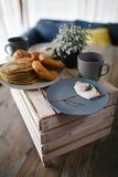 Ομελέτα και τηγανίτες Στοκ Εικόνες