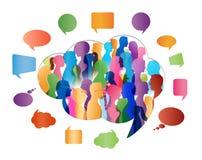 Ομιλία πλήθους ομιλία ανθρώπων ομάδας έννοιας επικοινωνίας γραφικό διάνυσμα λεκτικής ομιλίας προσώπων φυσαλίδων Επικοινωνία Χρωμα απεικόνιση αποθεμάτων
