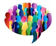 Ομιλία πλήθους ομιλία ανθρώπων ομάδας έννοιας επικοινωνίας Επικοινωνία γραφικό διάνυσμα λεκτικής ομιλίας προσώπων φυσαλίδων Χρωμα απεικόνιση αποθεμάτων