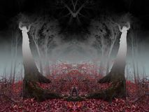 Ομιχλώδες δάσος φρίκης με άλλα παγκόσμια στοιχεία Στοκ εικόνα με δικαίωμα ελεύθερης χρήσης