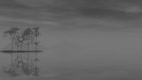 Ομιχλώδες τοπίο λιμνών πρωινού Βάρκες στη λίμνη με τον ήλιο αύξησης στο υπόβαθρο τρισδιάστατο renderng Στοκ Φωτογραφίες