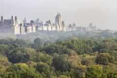 Ομιχλώδης πανοραμική άποψη τοπίων πόλεων της Νέας Υόρκης του ιστορικού bui Στοκ φωτογραφίες με δικαίωμα ελεύθερης χρήσης