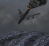 Ομιχλώδεις συντριβές αεροπλάνων αεριωθούμενων αεροπλάνων νύχτας στην απεικόνιση τραχιάς θάλασσας Στοκ Εικόνες