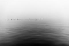 Ομιχλώδης γκρίζα λίμνη Στοκ φωτογραφίες με δικαίωμα ελεύθερης χρήσης