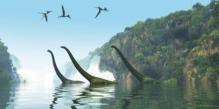 Ομιχλώδης ημέρα δεινοσαύρων Mamenchisaurus διανυσματική απεικόνιση