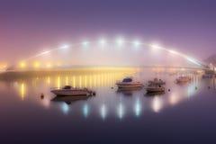 Ομιχλώδης νύχτα Plentzia στη γέφυρα Στοκ Εικόνα