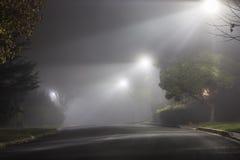 Ομιχλώδης οδός τη νύχτα Στοκ Εικόνες