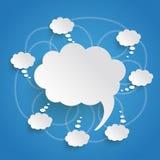 Ομιλία και σκεπτόμενο μπλε υπόβαθρο φυσαλίδων Στοκ φωτογραφία με δικαίωμα ελεύθερης χρήσης