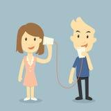Ομιλία με το τηλέφωνο φλυτζανιών διανυσματική απεικόνιση