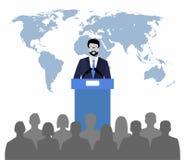 Ομιλητής που μιλά από το βήμα σε έναν χάρτη υποβάθρου του κόσμου Δημόσιος ομιλητής διανυσματική απεικόνιση