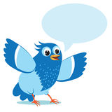 Ομιλούν μπλε πουλί Διανυσματική απεικόνιση σε ένα άσπρο υπόβαθρο ελεύθερη απεικόνιση δικαιώματος