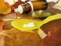 ομοιοπαθητικά χάπια φύλλ&ome στοκ φωτογραφία