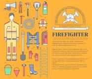 Ομοιόμορφα και πρώτα όργανα εξοπλισμού βοήθειας σύνολο πυροσβεστών και Στην επίπεδη έννοια υποβάθρου ύφους επίσης corel σύρετε το διανυσματική απεικόνιση