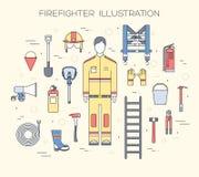 Ομοιόμορφα και πρώτα όργανα εξοπλισμού βοήθειας σύνολο επίπεδων πυροσβεστών και Στην επίπεδη έννοια υποβάθρου ύφους διάνυσμα απεικόνιση αποθεμάτων