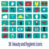 ομορφιά 36 και υγιεινά εικονίδια χρώματος Στοκ Φωτογραφίες