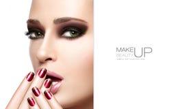 Ομορφιά και makeup έννοια Σύνθεση χειμερινής μόδας φθινοπώρου Στοκ φωτογραφία με δικαίωμα ελεύθερης χρήσης