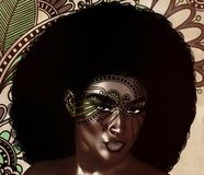 Ομορφιά μόδας αφροαμερικάνων, καθιερώνον τη μόδα ύφος τρίχας Afro Στοκ Φωτογραφία