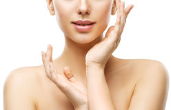 Ομορφιά φροντίδας δέρματος, χείλια προσώπου γυναικών και χέρια, φυσικό Skincare στοκ εικόνες με δικαίωμα ελεύθερης χρήσης