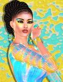 Ομορφιά Brunette και εικόνα μόδας makeup Το ζωηρόχρωμο αφηρημένο υπόβαθρο, τρισδιάστατο δίνει την ψηφιακή τέχνη με τη λατινική γε Στοκ Εικόνα