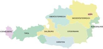 ομοσπονδιακά κράτη χαρτών της Αυστρίας Στοκ φωτογραφία με δικαίωμα ελεύθερης χρήσης