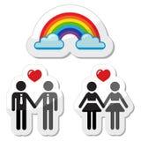 ομοφυλοφιλικά εικονίδια ζευγών raibnow Στοκ φωτογραφίες με δικαίωμα ελεύθερης χρήσης