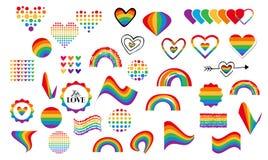 Ομοφυλοφιλικά σύμβολα ουράνιων τόξων διανυσματική απεικόνιση