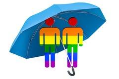 Ομοφυλοφιλική οικογένεια κάτω από την ομπρέλα Ασφάλεια και ασφαλής έννοια τρισδιάστατο renderi ελεύθερη απεικόνιση δικαιώματος