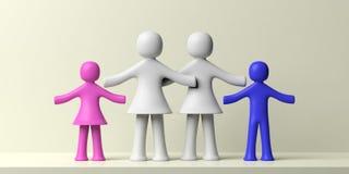 Ομοφυλοφιλική οικογενειακή έννοια Λεσβίες και δύο ανθρώπινοι αριθμοί παιδιών για το άσπρο υπόβαθρο τρισδιάστατη απεικόνιση Στοκ εικόνα με δικαίωμα ελεύθερης χρήσης