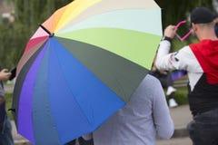 Ομοφυλοφιλική παρέλαση στο πάρκο στοκ εικόνα με δικαίωμα ελεύθερης χρήσης