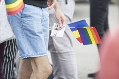 Ομοφυλοφιλική παρέλαση στο πάρκο στοκ εικόνες με δικαίωμα ελεύθερης χρήσης