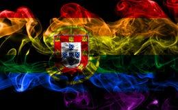 Ομοφυλοφιλική σημαία καπνού της Πορτογαλίας, σημαία LGBT Πορτογαλία Στοκ Εικόνα
