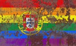 Ομοφυλοφιλική σημαία grunge της Πορτογαλίας, σημαία LGBT Πορτογαλία Στοκ εικόνες με δικαίωμα ελεύθερης χρήσης