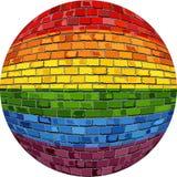 Ομοφυλοφιλική σφαίρα υπερηφάνειας στο ύφος τούβλου διανυσματική απεικόνιση