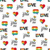Ομοφυλοφιλικό διανυσματικό υπόβαθρο σχεδίων LGBT υπερηφάνειας άνευ ραφής διανυσματική απεικόνιση