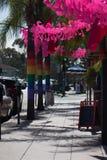 Ομοφυλοφιλική υπερηφάνεια του Σαν Ντιέγκο Hillcrest 2017 διακοσμήσεις Σημαίες ουράνιων τόξων στους φοίνικες και τα φλαμίγκο Στοκ Εικόνες