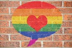 Ομοφυλοφιλική χρωματισμένη υπερηφάνεια λεκτική φυσαλίδα στοκ φωτογραφίες