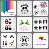 Ομοφυλοφιλικό & λεσβιακό στοιχείο εικονιδίων και σχεδίου Στοκ φωτογραφία με δικαίωμα ελεύθερης χρήσης