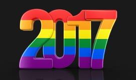 Ομοφυλοφιλικό νέο έτος 2017 χρώματος υπερηφάνειας Στοκ φωτογραφία με δικαίωμα ελεύθερης χρήσης