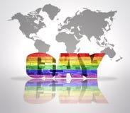 Ομοφυλόφιλος λέξης με τη σημαία ουράνιων τόξων Στοκ εικόνες με δικαίωμα ελεύθερης χρήσης