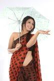 ομπρέλα κάτω από τη γυναίκα Στοκ φωτογραφία με δικαίωμα ελεύθερης χρήσης