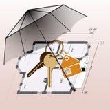 Ομπρέλα, μπρελόκ με τα κλειδιά, υπόβαθρο σχεδίων σπιτιών ελεύθερη απεικόνιση δικαιώματος