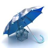 ομπρέλα σπιτιών κάτω Στοκ εικόνα με δικαίωμα ελεύθερης χρήσης