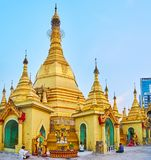 Ομπρέλα Hti της παγόδας Sule, Yangon, το Μιανμάρ Στοκ Φωτογραφίες