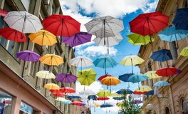 Ομπρέλες σε Sombor στην οδό Στοκ Εικόνες