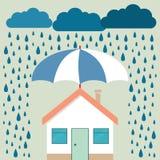 Ομπρέλα κάτω από τη βροχή που προστατεύει το σπίτι Ασφάλεια, κίνδυνος, κρίση, φ απεικόνιση αποθεμάτων