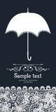 Ομπρέλα και εκλεκτής ποιότητας κάρτα δαντελλών Στοκ εικόνες με δικαίωμα ελεύθερης χρήσης