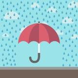 Ομπρέλα που προστατεύει από τη βροχή διανυσματική απεικόνιση