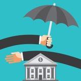 Ομπρέλα που προστατεύει την αποταμίευση Στοκ Φωτογραφία