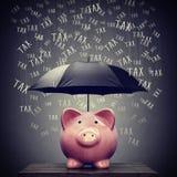 Ομπρέλα που προστατεύει τη piggy αποταμίευση τραπεζών από το φόρο Στοκ Εικόνα